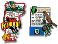 Vermont Jumbo Map & State Montage Magnet Set by Classic Magnets, 2-Piece Set, Collectible Souvenirs Made in the USA