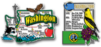 Washington Jumbo Map & State Montage Magnet Set by Classic Magnets, 2-Piece Set, Collectible Souvenirs Made in the USA