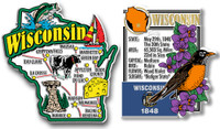Wisconsin Jumbo Map & State Montage Magnet Set by Classic Magnets, 2-Piece Set, Collectible Souvenirs Made in the USA