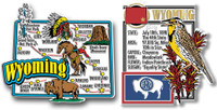 Wyoming Jumbo Map & State Montage Magnet Set by Classic Magnets, 2-Piece Set, Collectible Souvenirs Made in the USA
