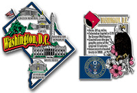 Washington, D.C. Jumbo Map & State Montage Magnet Set by Classic Magnets, 2-Piece Set, Collectible Souvenirs Made in the USA