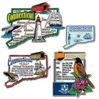 Connecticut Four-Piece State Magnet Set by Classic Magnets, Includes 4 Unique Designs, Collectible Souvenirs Made in the USA