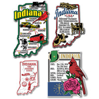 Indiana Four-Piece State Magnet Set by Classic Magnets, Includes 4 Unique Designs, Collectible Souvenirs Made in the USA