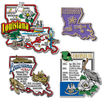 Louisiana Four-Piece State Magnet Set by Classic Magnets, Includes 4 Unique Designs, Collectible Souvenirs Made in the USA