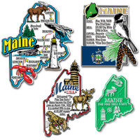 Maine Four-Piece State Magnet Set by Classic Magnets, Includes 4 Unique Designs, Collectible Souvenirs Made in the USA