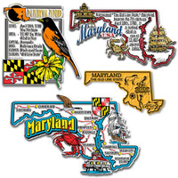 Maryland Four-Piece State Magnet Set by Classic Magnets, Includes 4 Unique Designs, Collectible Souvenirs Made in the USA