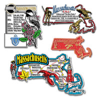 Massachusetts Four-Piece State Magnet Set by Classic Magnets, Includes 4 Unique Designs, Collectible Souvenirs Made in the USA