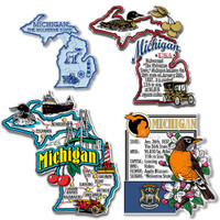 Michigan Four-Piece State Magnet Set by Classic Magnets, Includes 4 Unique Designs, Collectible Souvenirs Made in the USA
