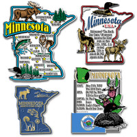 Minnesota Four-Piece State Magnet Set by Classic Magnets, Includes 4 Unique Designs, Collectible Souvenirs Made in the USA