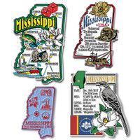 Mississippi Four-Piece State Magnet Set by Classic Magnets, Includes 4 Unique Designs, Collectible Souvenirs Made in the USA