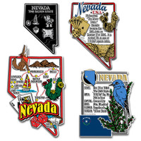 Nevada Four-Piece State Magnet Set by Classic Magnets, Includes 4 Unique Designs, Collectible Souvenirs Made in the USA