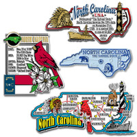 North Carolina Four-Piece State Magnet Set by Classic Magnets, Includes 4 Unique Designs, Collectible Souvenirs Made in the USA
