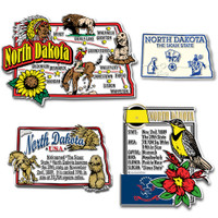 North Dakota Four-Piece State Magnet Set by Classic Magnets, Includes 4 Unique Designs, Collectible Souvenirs Made in the USA