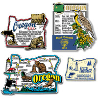 Oregon Four-Piece State Magnet Set by Classic Magnets, Includes 4 Unique Designs, Collectible Souvenirs Made in the USA