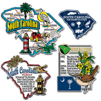 South Carolina Four-Piece State Magnet Set by Classic Magnets, Includes 4 Unique Designs, Collectible Souvenirs Made in the USA
