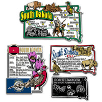 South Dakota Four-Piece State Magnet Set by Classic Magnets, Includes 4 Unique Designs, Collectible Souvenirs Made in the USA