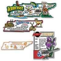 Tennessee Four-Piece State Magnet Set by Classic Magnets, Includes 4 Unique Designs, Collectible Souvenirs Made in the USA