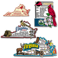 Virginia Four-Piece State Magnet Set by Classic Magnets, Includes 4 Unique Designs, Collectible Souvenirs Made in the USA