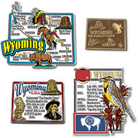 Wyoming Four-Piece State Magnet Set by Classic Magnets, Includes 4 Unique Designs, Collectible Souvenirs Made in the USA