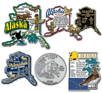 Alaska Six-Piece State Magnet Set by Classic Magnets, Includes 6 Unique Designs, Collectible Souvenirs Made in the USA