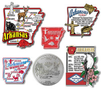Arkansas Six-Piece State Magnet Set by Classic Magnets, Includes 6 Unique Designs, Collectible Souvenirs Made in the USA