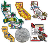 California Six-Piece State Magnet Set by Classic Magnets, Includes 6 Unique Designs, Collectible Souvenirs Made in the USA