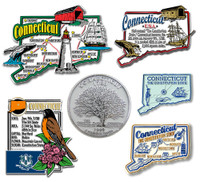 Connecticut Six-Piece State Magnet Set by Classic Magnets, Includes 6 Unique Designs, Collectible Souvenirs Made in the USA