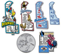 Delaware Six-Piece State Magnet Set by Classic Magnets, Includes 6 Unique Designs, Collectible Souvenirs Made in the USA