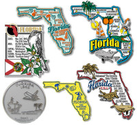 Florida Six-Piece State Magnet Set by Classic Magnets, Includes 6 Unique Designs, Collectible Souvenirs Made in the USA