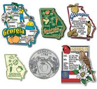 Georgia Six-Piece State Magnet Set by Classic Magnets, Includes 6 Unique Designs, Collectible Souvenirs Made in the USA
