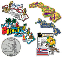 Hawaii Six-Piece State Magnet Set by Classic Magnets, Includes 6 Unique Designs, Collectible Souvenirs Made in the USA