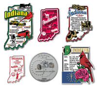 Indiana Six-Piece State Magnet Set by Classic Magnets, Includes 6 Unique Designs, Collectible Souvenirs Made in the USA