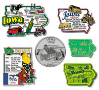 Iowa Six-Piece State Magnet Set by Classic Magnets, Includes 6 Unique Designs, Collectible Souvenirs Made in the USA