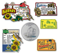 Kansas Six-Piece State Magnet Set by Classic Magnets, Includes 6 Unique Designs, Collectible Souvenirs Made in the USA