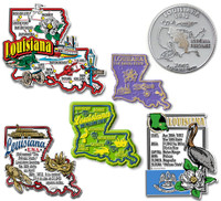 Louisiana Six-Piece State Magnet Set by Classic Magnets, Includes 6 Unique Designs, Collectible Souvenirs Made in the USA