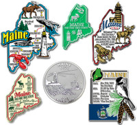 Maine Six-Piece State Magnet Set by Classic Magnets, Includes 6 Unique Designs, Collectible Souvenirs Made in the USA