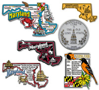 Maryland Six-Piece State Magnet Set by Classic Magnets, Includes 6 Unique Designs, Collectible Souvenirs Made in the USA