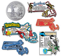 Massachusetts Six-Piece State Magnet Set by Classic Magnets, Includes 6 Unique Designs, Collectible Souvenirs Made in the USA