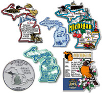 Michigan Six-Piece State Magnet Set by Classic Magnets, Includes 6 Unique Designs, Collectible Souvenirs Made in the USA