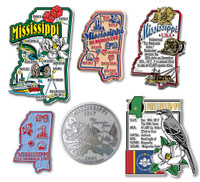 Mississippi Six-Piece State Magnet Set by Classic Magnets, Includes 6 Unique Designs, Collectible Souvenirs Made in the USA