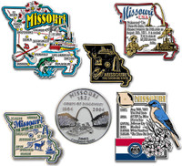 Missouri Six-Piece State Magnet Set by Classic Magnets, Includes 6 Unique Designs, Collectible Souvenirs Made in the USA
