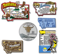 Montana Six-Piece State Magnet Set by Classic Magnets, Includes 6 Unique Designs, Collectible Souvenirs Made in the USA