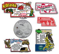 Nebraska Six-Piece State Magnet Set by Classic Magnets, Includes 6 Unique Designs, Collectible Souvenirs Made in the USA