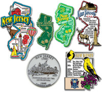 New Jersey Six-Piece State Magnet Set by Classic Magnets, Includes 6 Unique Designs, Collectible Souvenirs Made in the USA