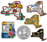 New York Six-Piece State Magnet Set by Classic Magnets, Includes 6 Unique Designs, Collectible Souvenirs Made in the USA