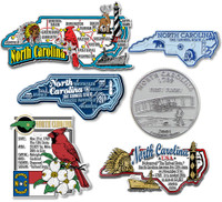 North Carolina Six-Piece State Magnet Set by Classic Magnets, Includes 6 Unique Designs, Collectible Souvenirs Made in the USA