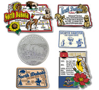 North Dakota Six-Piece State Magnet Set by Classic Magnets, Includes 6 Unique Designs, Collectible Souvenirs Made in the USA