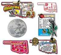 Oklahoma Six-Piece State Magnet Set by Classic Magnets, Includes 6 Unique Designs, Collectible Souvenirs Made in the USA