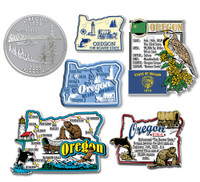 Oregon Six-Piece State Magnet Set by Classic Magnets, Includes 6 Unique Designs, Collectible Souvenirs Made in the USA