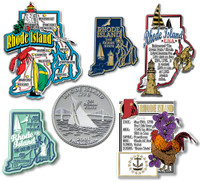 Rhode Island Six-Piece State Magnet Set by Classic Magnets, Includes 6 Unique Designs, Collectible Souvenirs Made in the USA